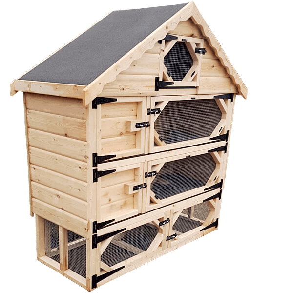 Double Deluxe Guinea Pig Hutch with Run Underneath