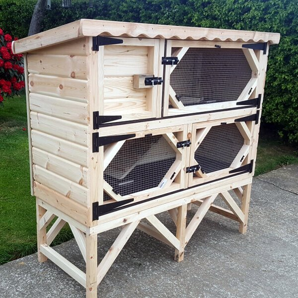 Double Rabbit Hutch with Bedding Area Upstairs