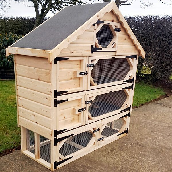 Double Deluxe Rabbit Hutch with Run Underneath