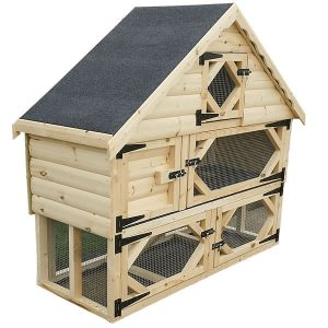Single Deluxe Rabbit Hutch with Run Underneath